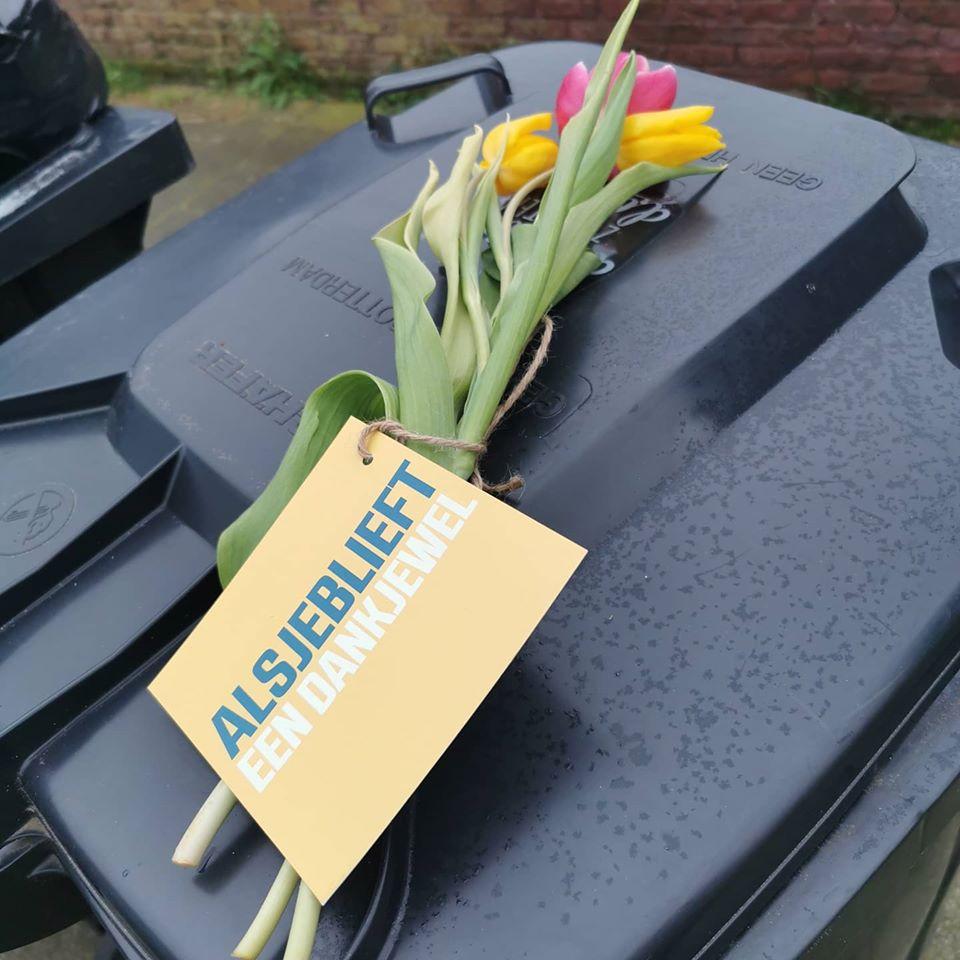 Bedankje voor de vuilnisinzamelaars